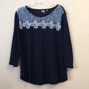 NY & Co Soho Semi-Sheer Lace Long Sleeve Top